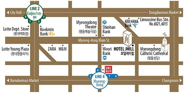 ジェイヒルホテル明洞地図